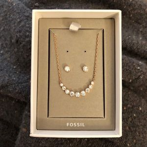 🆕 Fossil Necklace and Earring Set, Rose Gold